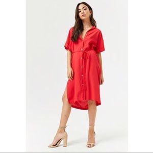 Forever 21 Red Button-Front Shirt Dress